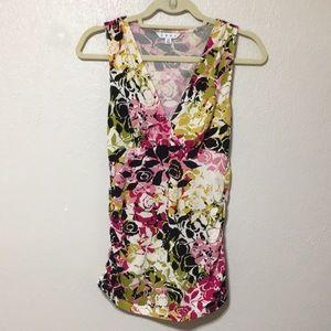 CAbi Floral Knit Vneck Sleeveless Top
